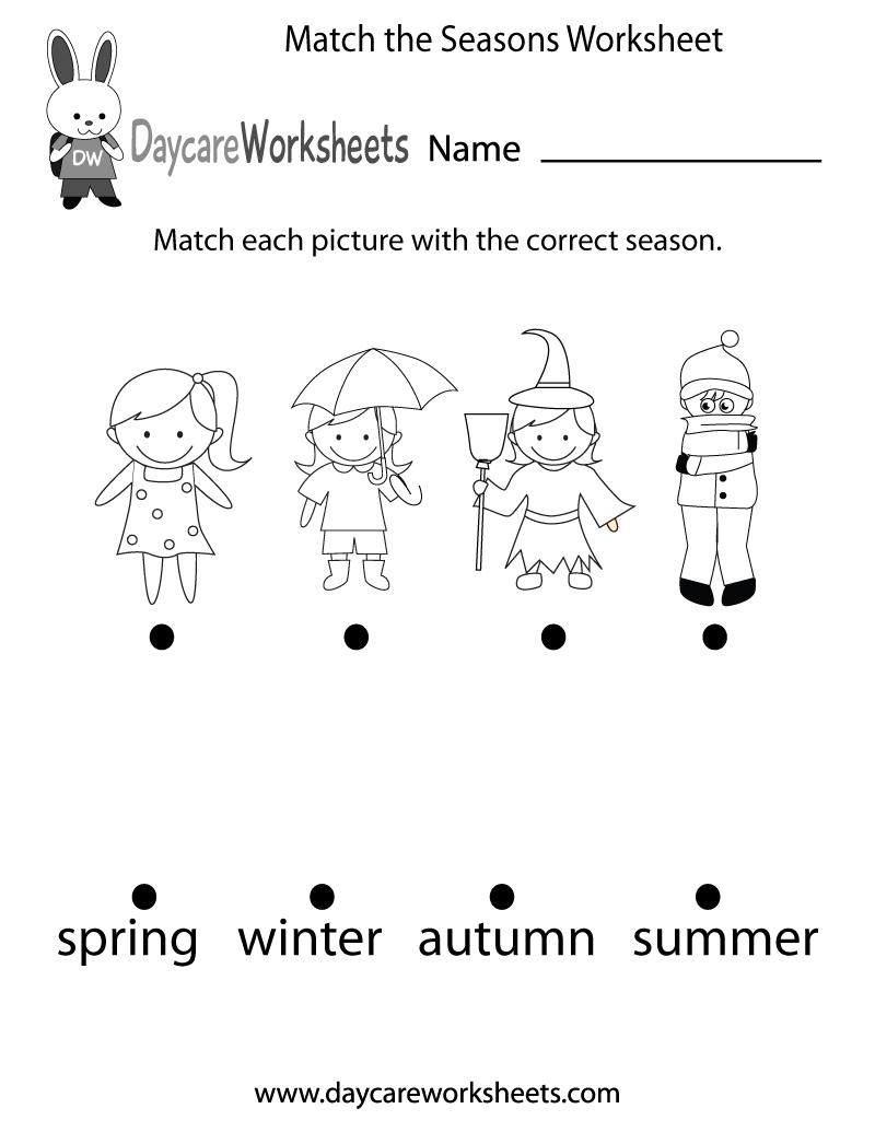 Free Preschool Match The Seasons Worksheet