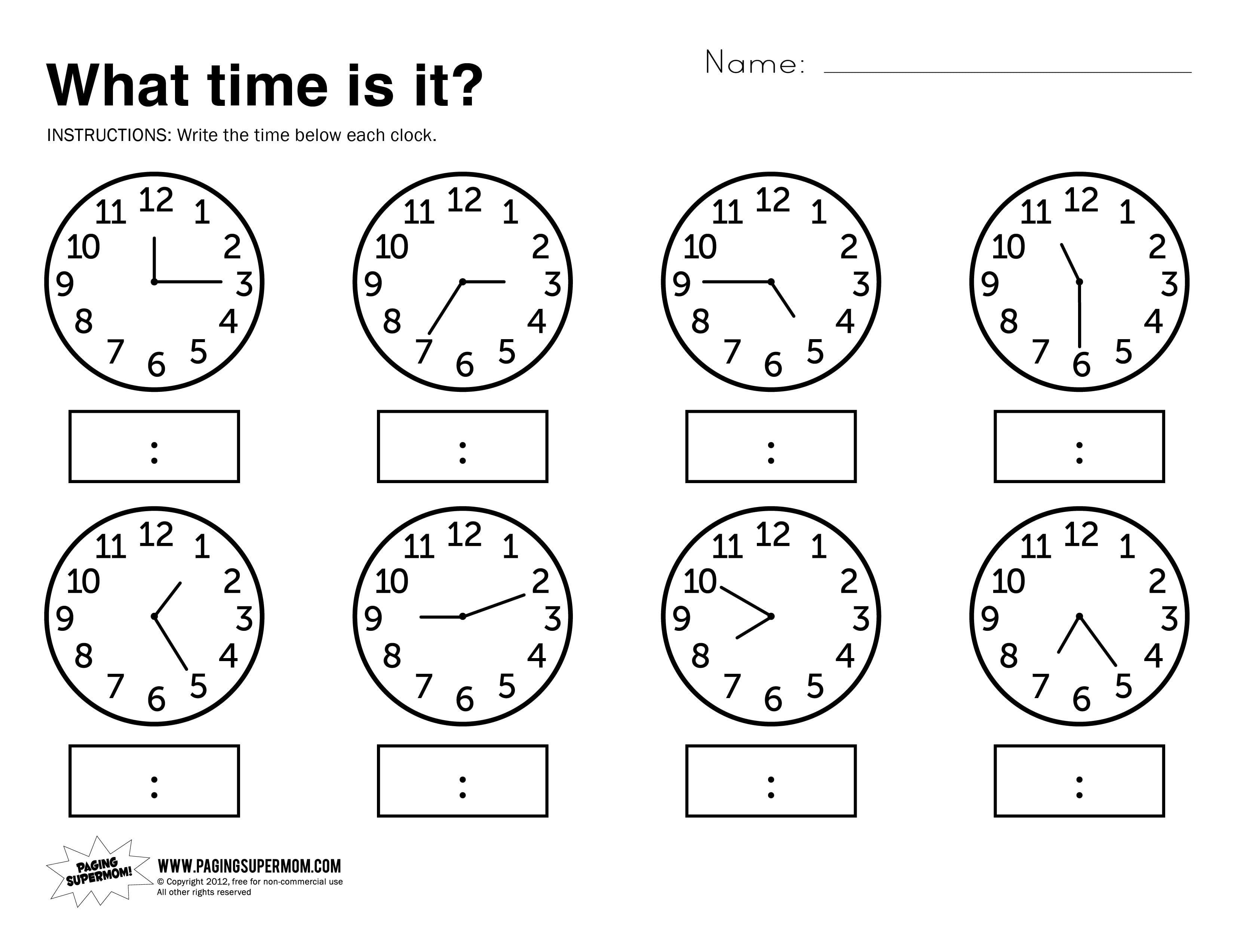 Free Printable Kindergarten Telling Time Worksheets 226852