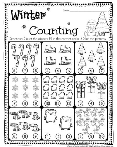 Free Winter Worksheets For Kindergarten Beautiful Math Counting