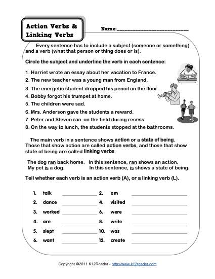 Free Worksheet Linking Verbs 340077