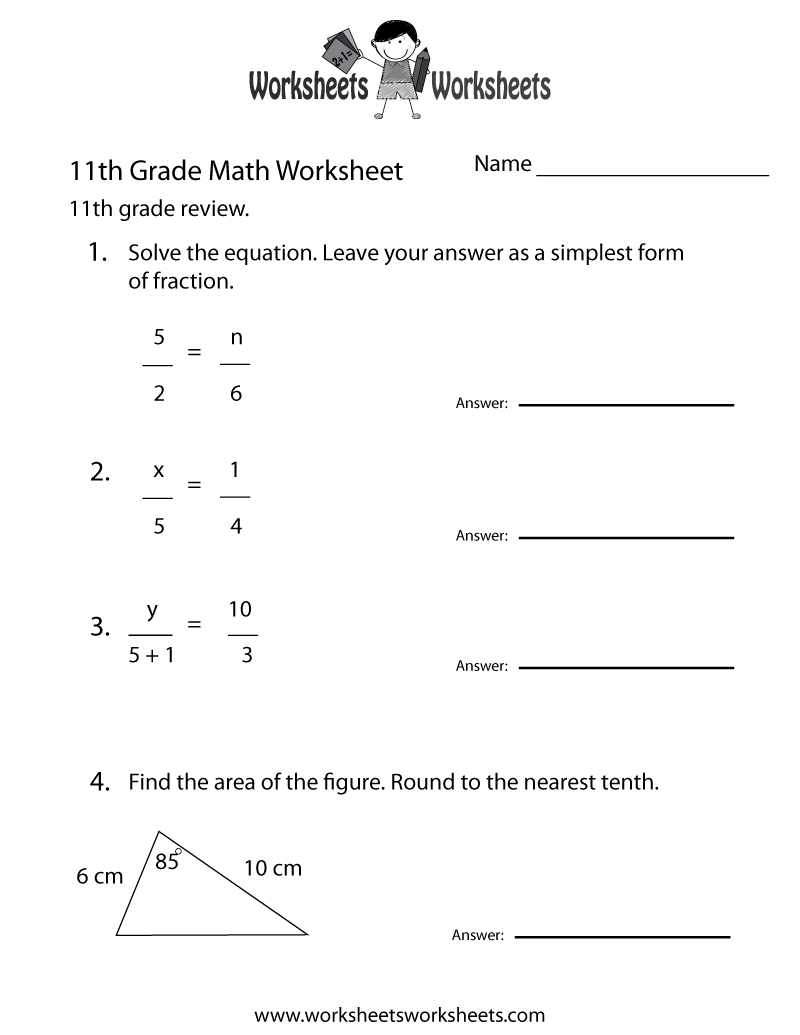 Fun Math Worksheets For 11th Grade 870425