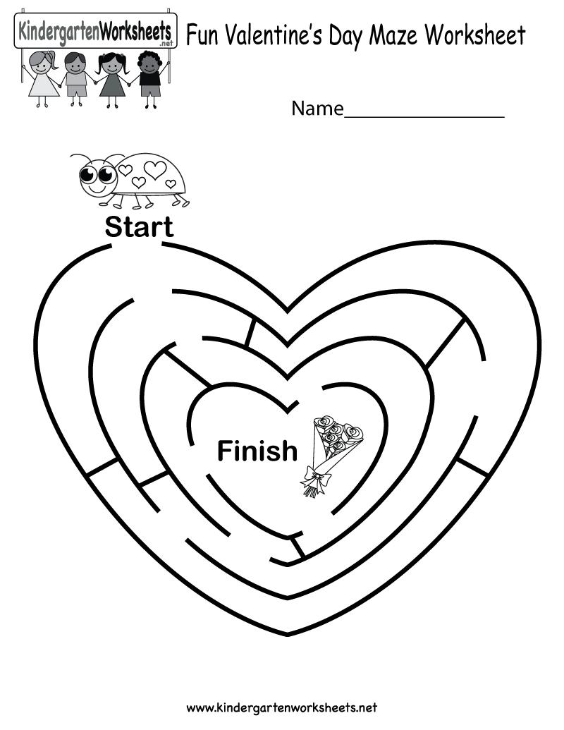 Fun Valentine's Day Maze Worksheet