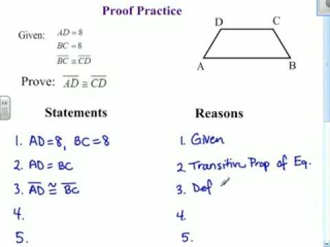 Geometry 16 Proof Practice Youtube Proofs Worksheet