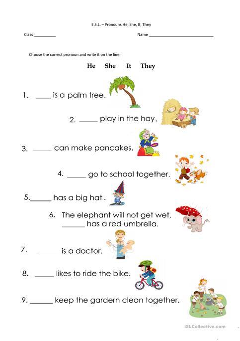 He She It Worksheets For Preschool 109438