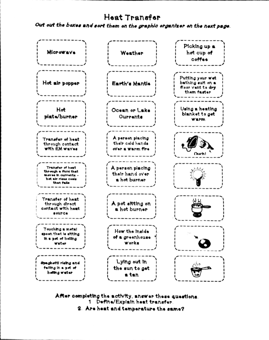 Heat Transfer Worksheet Doc