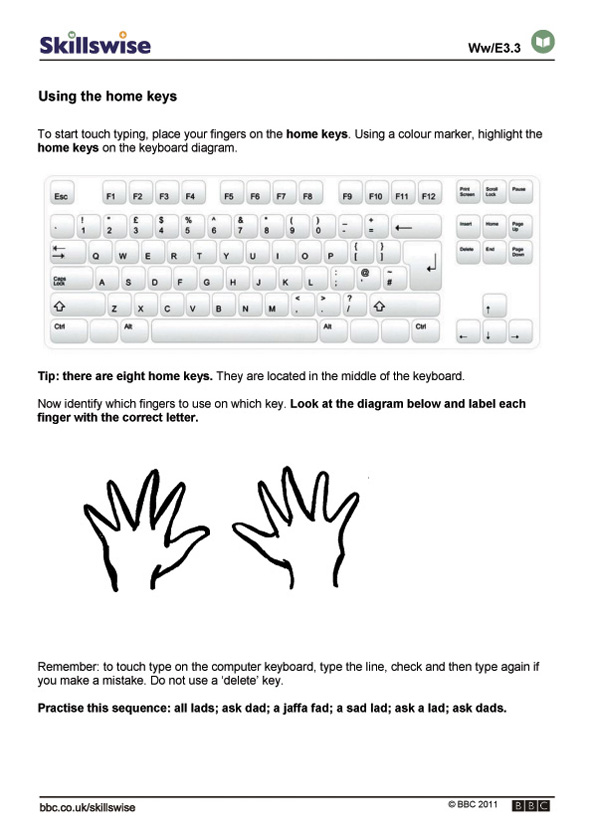 Home Row Typing Practice Worksheet Images