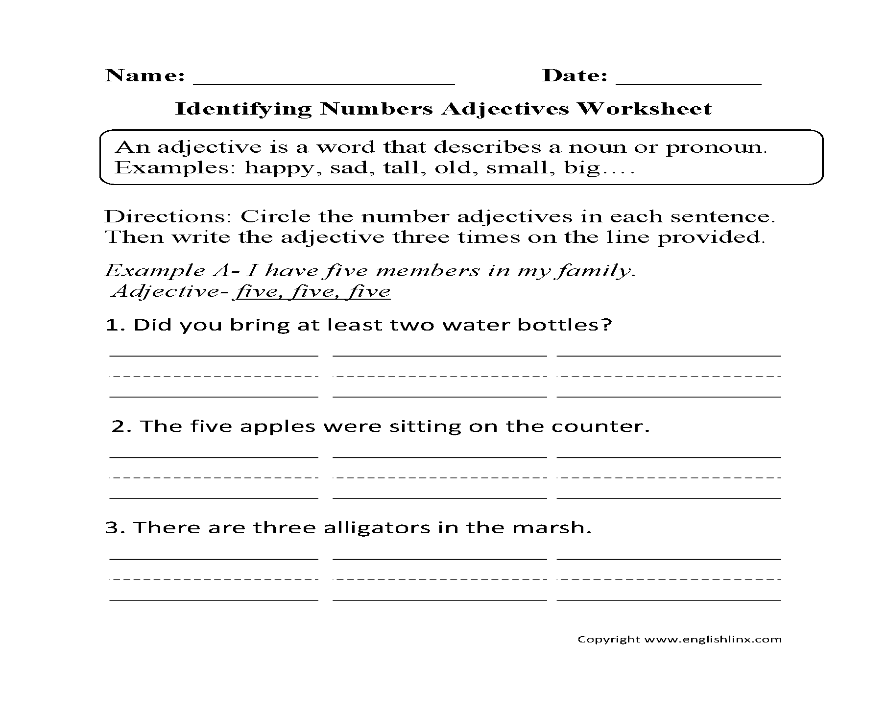 Identify Adjectives Worksheet 1129825