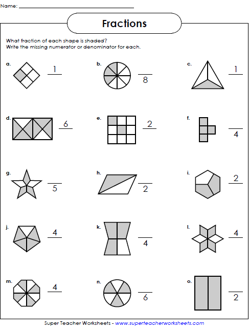 Intro To Fractions Worksheet 490061