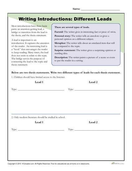 Introduction Paragraph Worksheet 1361576