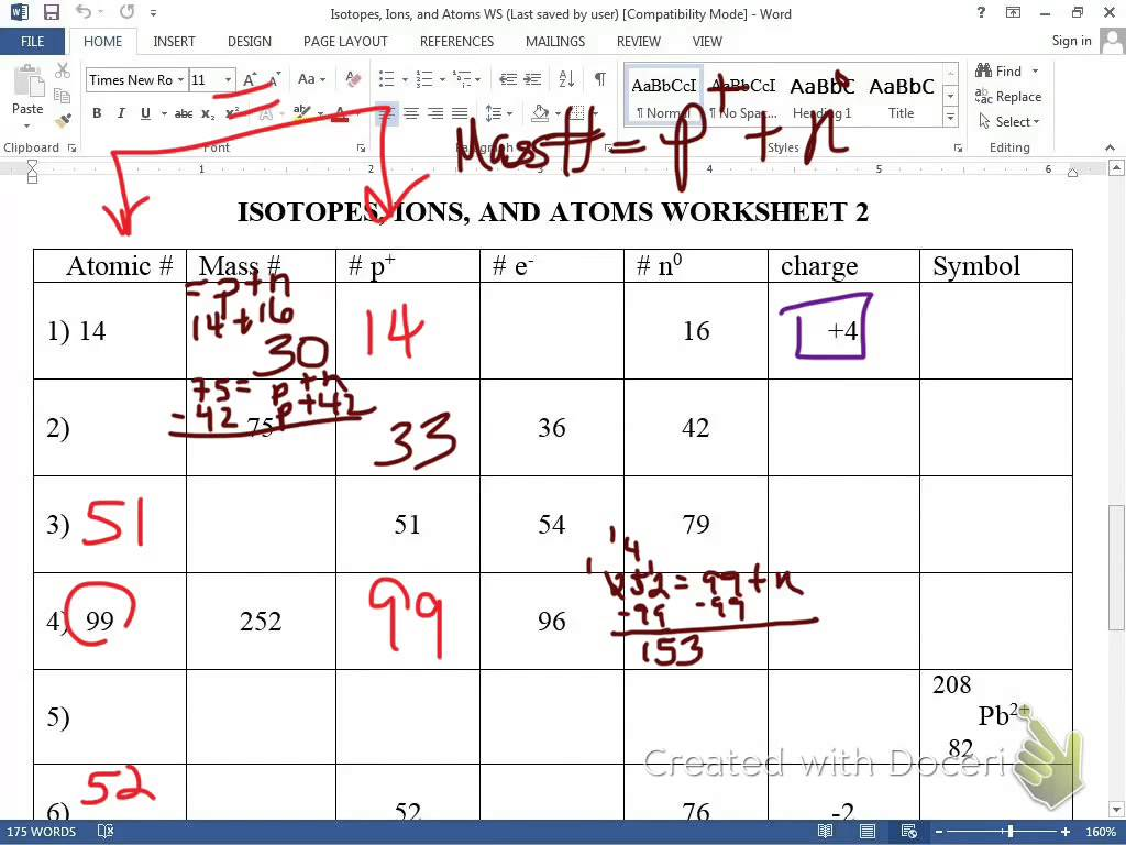 Ions Isotopes Atoms Worksheet Youtube
