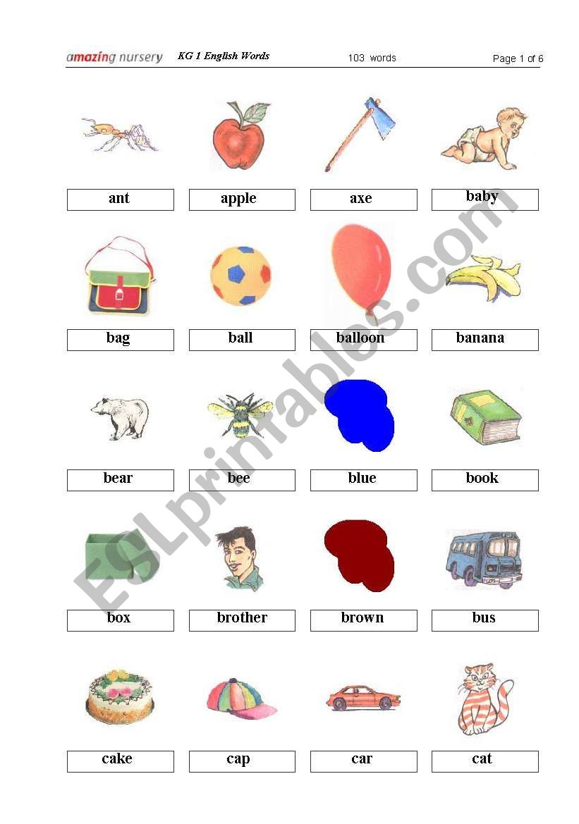 Kg1 English Words