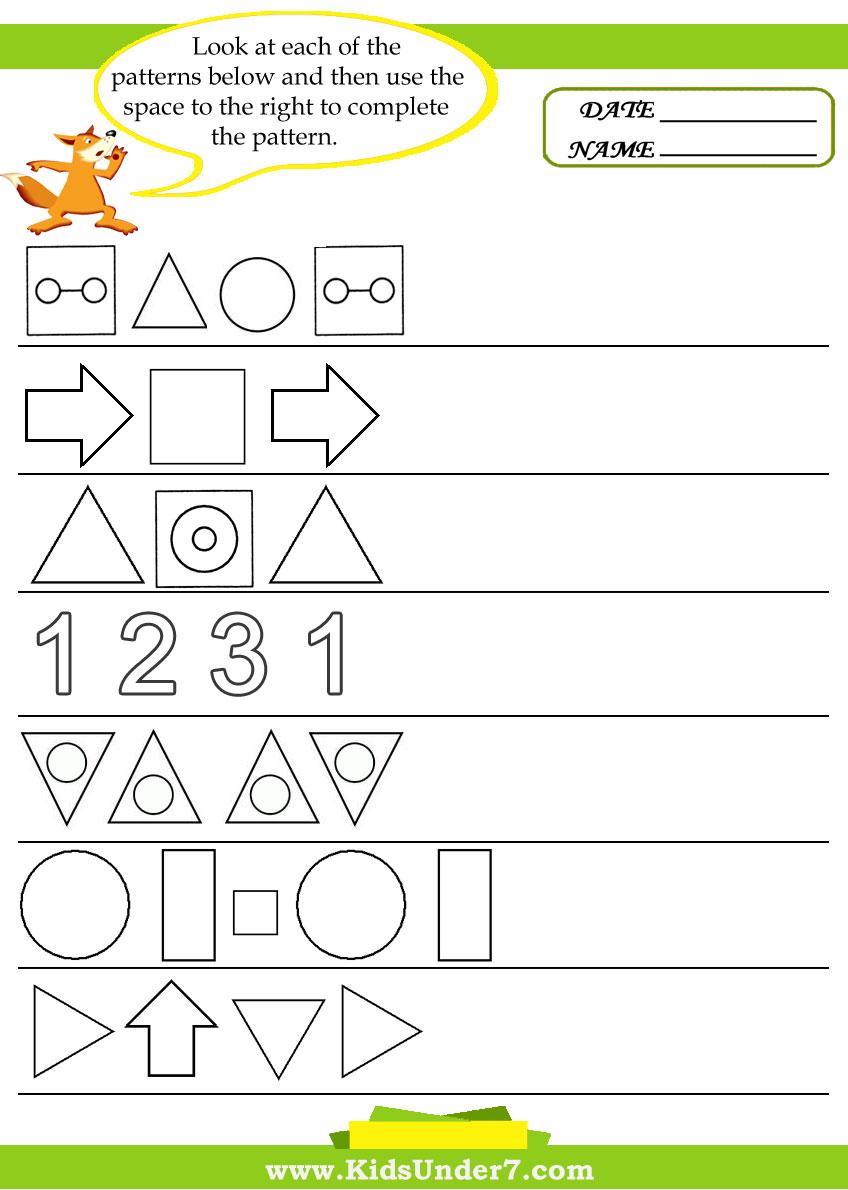Kids Under 7  Pattern Recognition Worksheets
