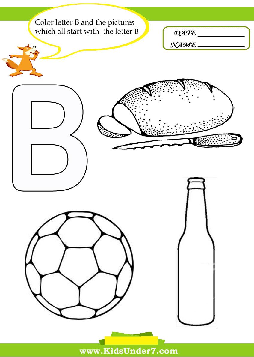 Kids Under 7 Letter B Worksheets And Coloring Pages Kindergarten