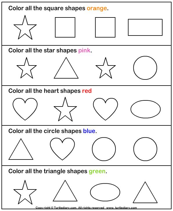 Kindergarten Color And Shapes Worksheet 533279