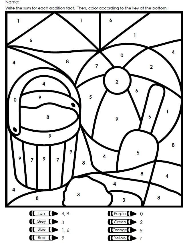Kindergarten Coloring Worksheets Color By Number 782519