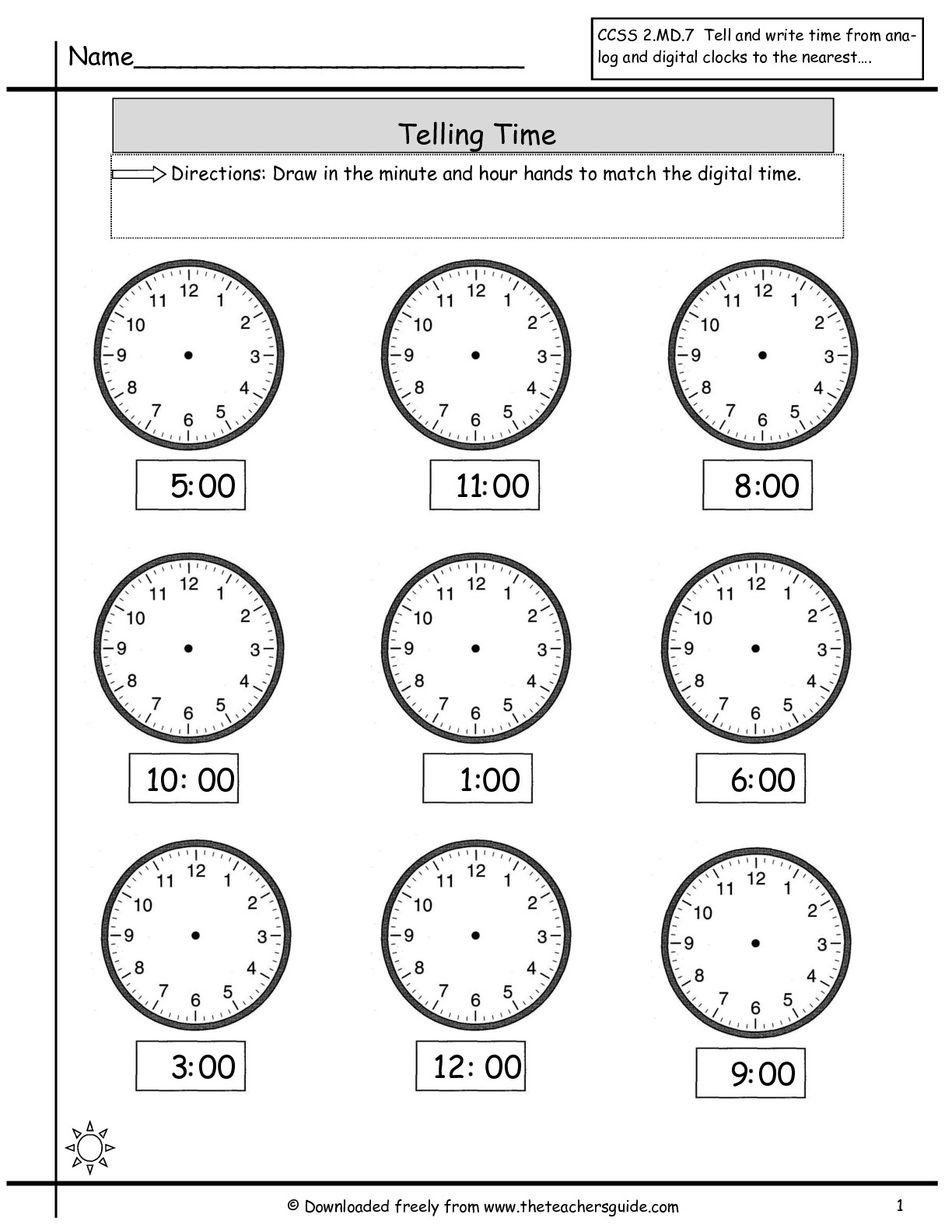 Kindergarten Math Worksheets Telling Time Clock Free Printable For