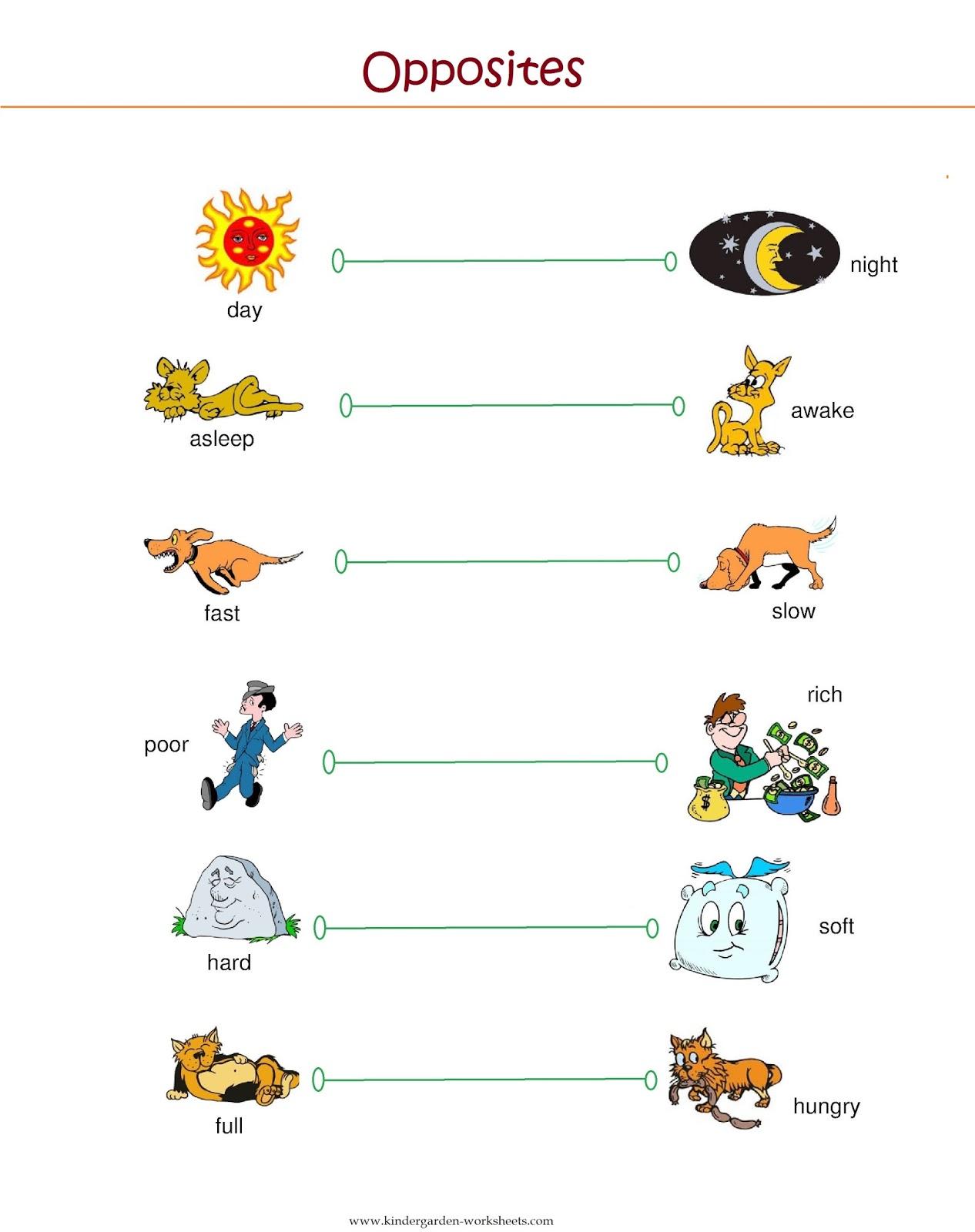 Kindergarten Opposite Worksheets Free Printable The Best