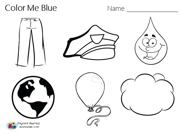 Kindergarten Worksheets Color Blue 505889