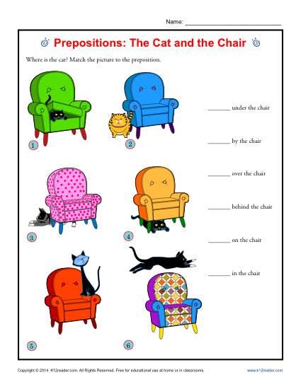 Kindergarten Worksheets Prepositions 13768