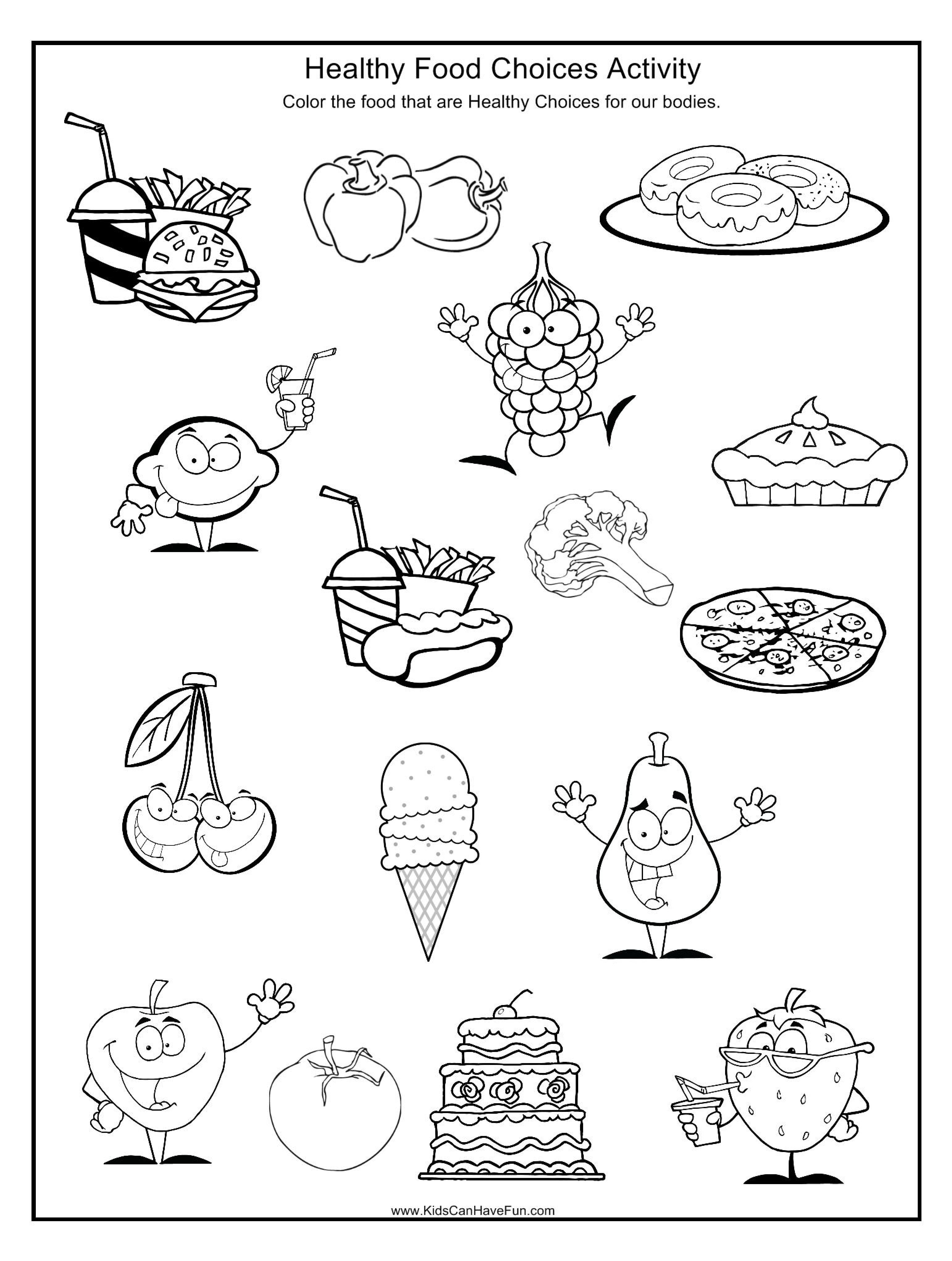 Kindergartenlth Worksheets Dentallthy Food Free For