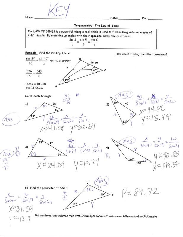 Law Of Sines Homework Worksheet