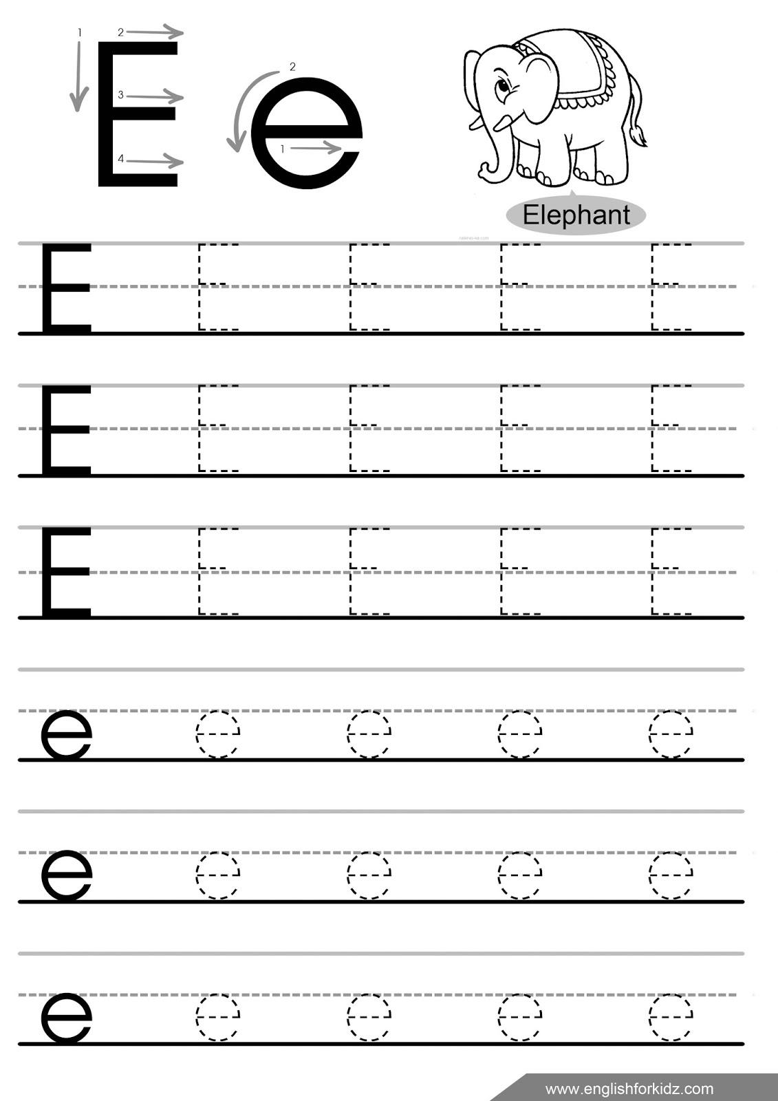 Letter E Tracing Worksheets Preschool The Best Worksheets Image