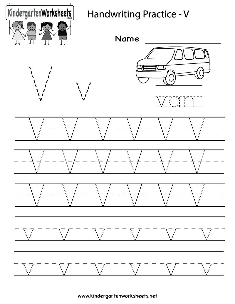 Letter V Worksheets Preschool Tracing For Preschoolers All Math