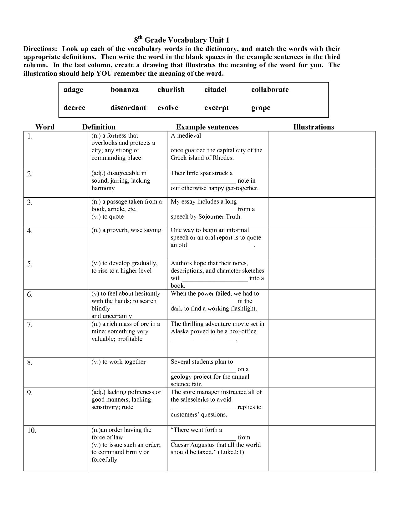 Math Vocabulary Worksheet Printable Worksheets Free 8th Grade