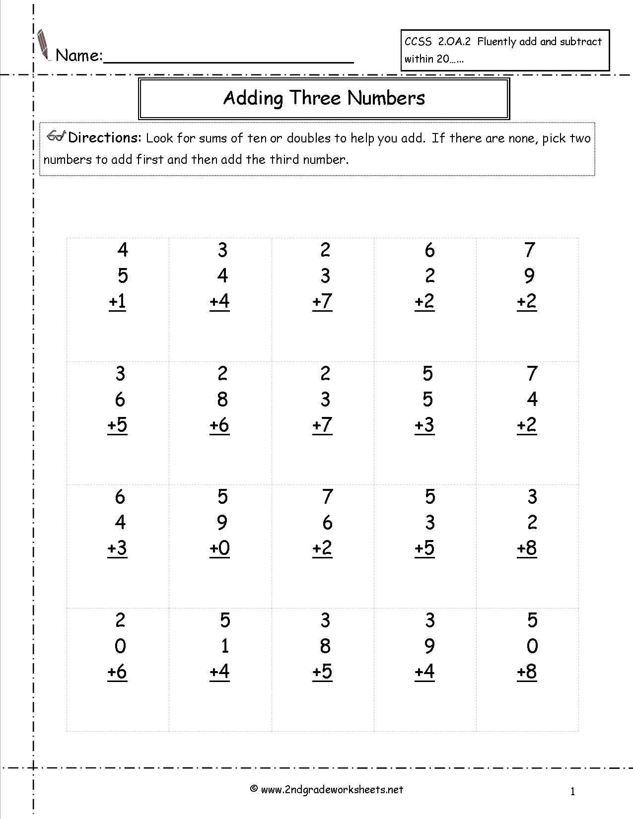Math Worksheets For 2nd Grade Addition And Subtraction 147882