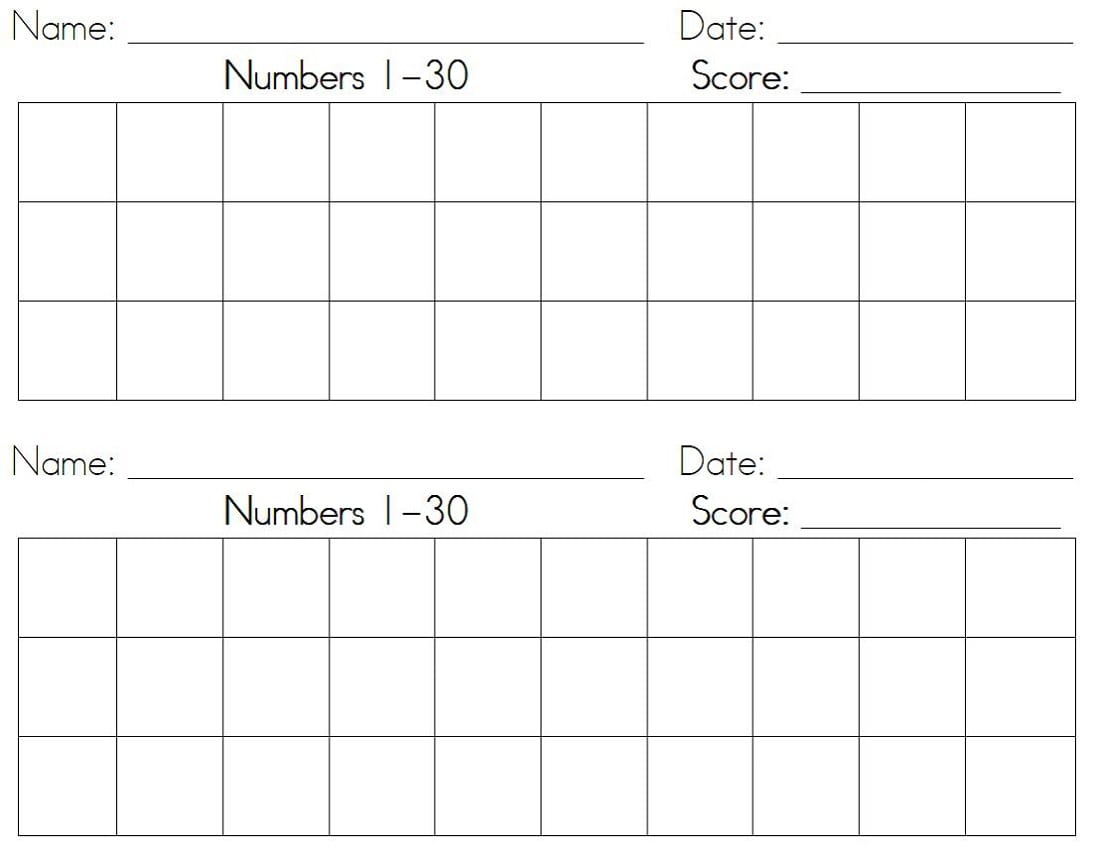 Math Worksheets Numbers 1 30 1020072