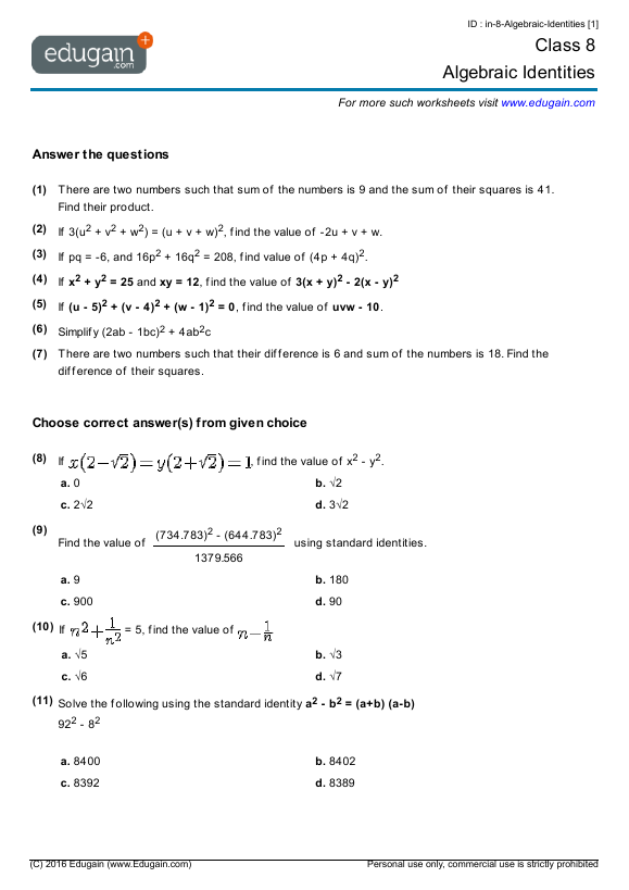 Maths Worksheets For Grade 8 In Algebra 389802