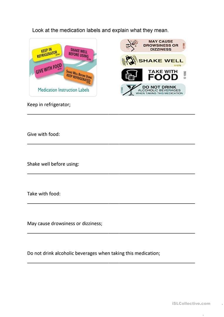 Medicine Labels Worksheet