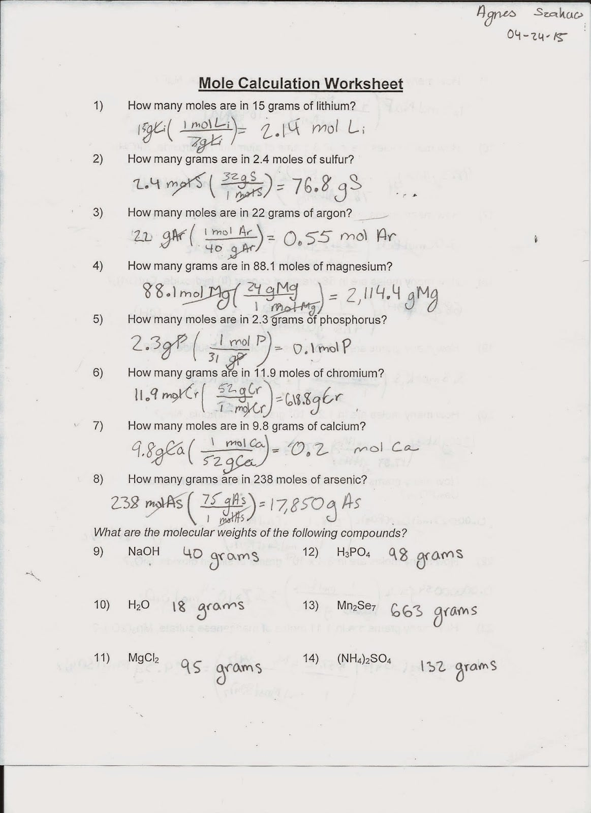 Mole Calculations Worksheet Chemfiesta