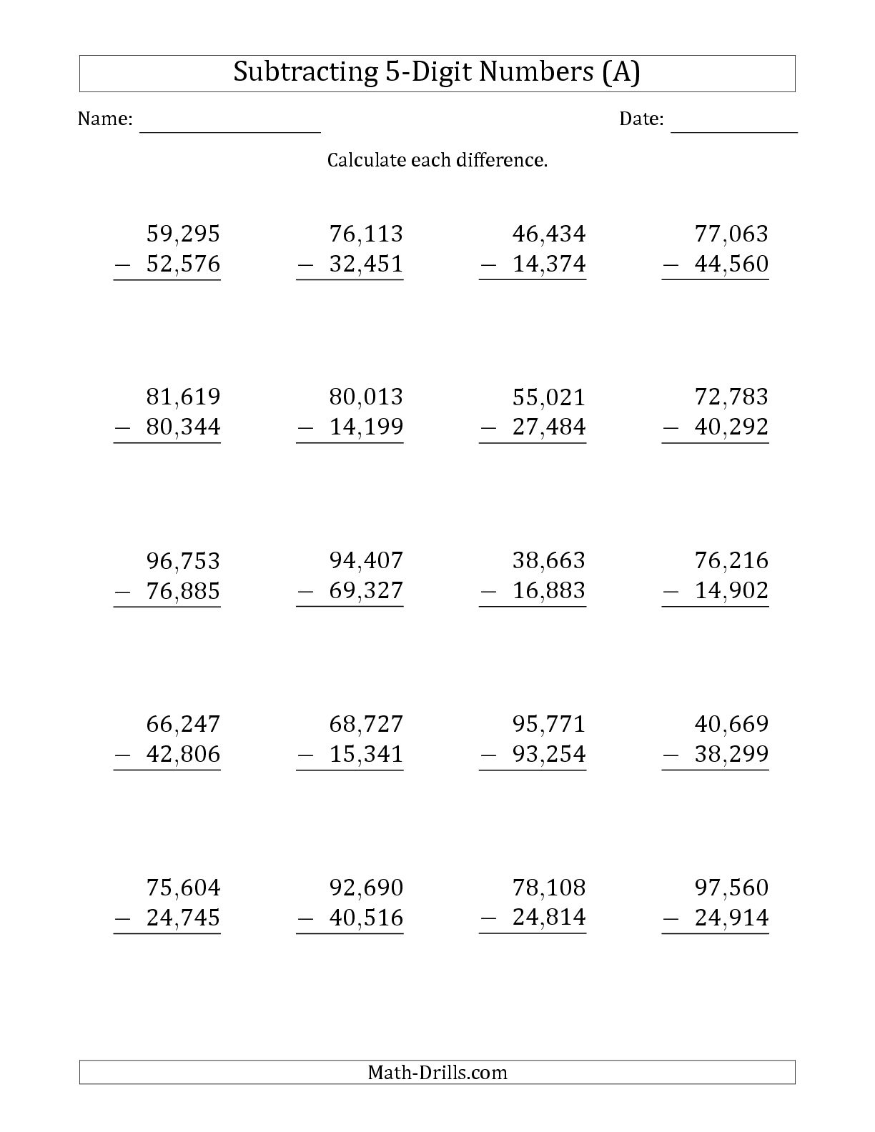 Multidigit Addition And Subtraction Worksheets The Best Worksheets