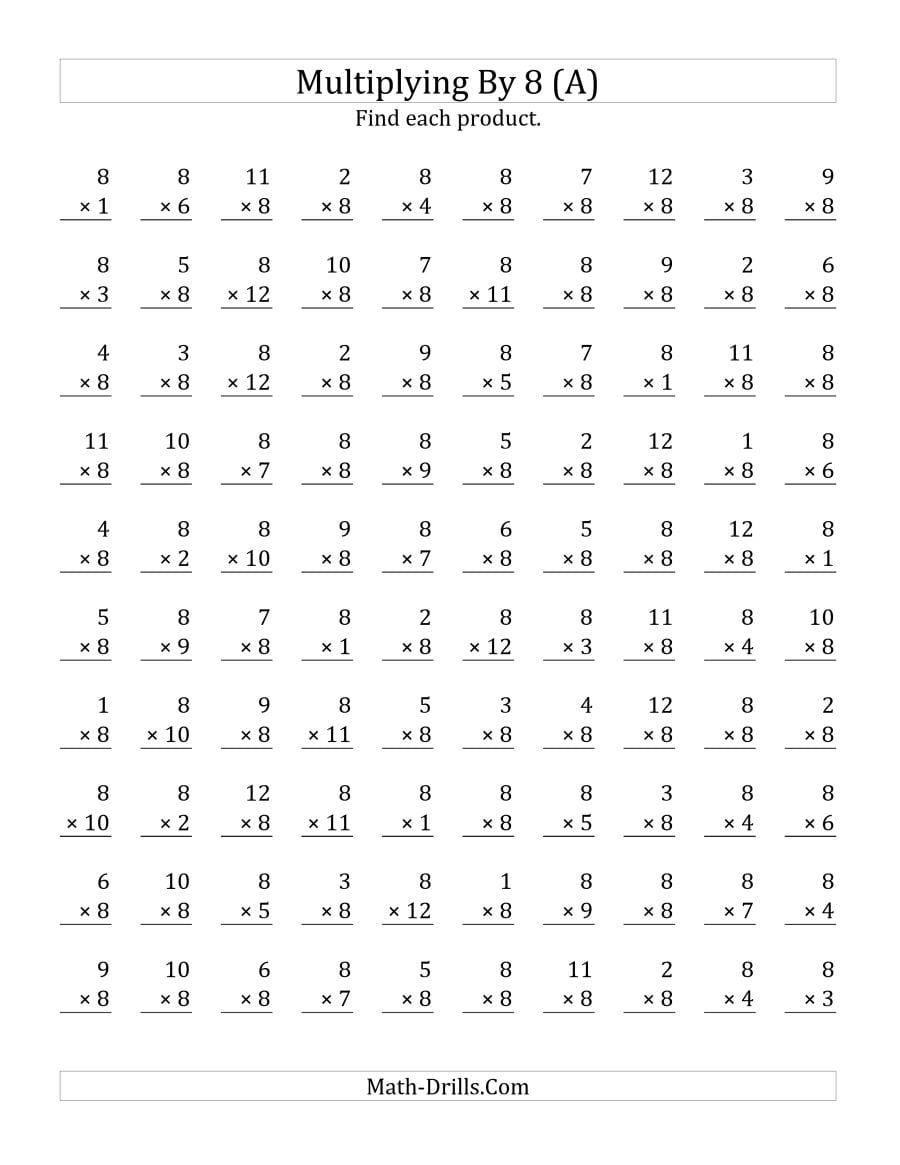 Multiplying 1 To 12 By 8 (a)