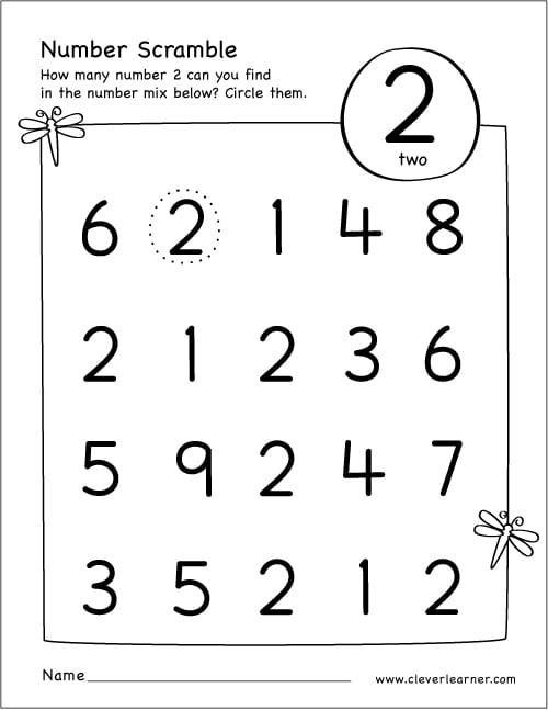 Number 2 Worksheets Preschool The Best Worksheets Image Collection