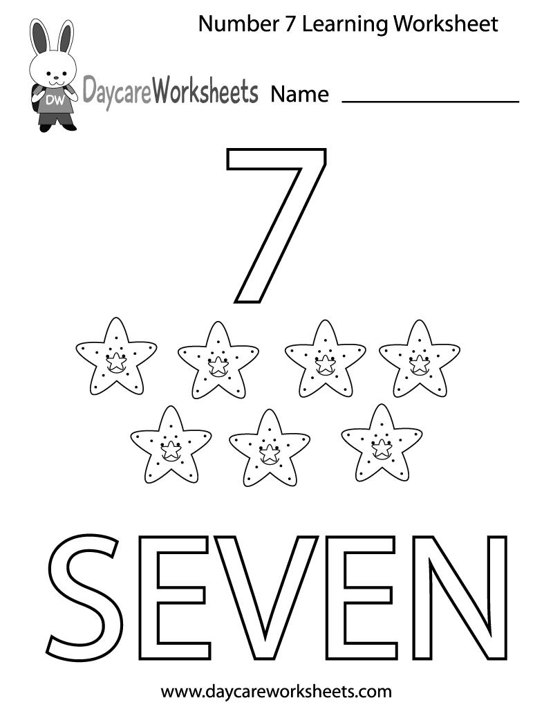 Number 7 Worksheet For Preschool 496282