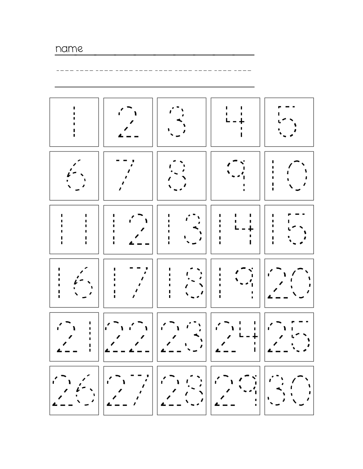 Numbers 1 30 Worksheets The Best Worksheets Image Collection