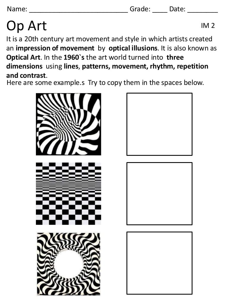 Op Art Worksheet The Best Worksheets Image Collection