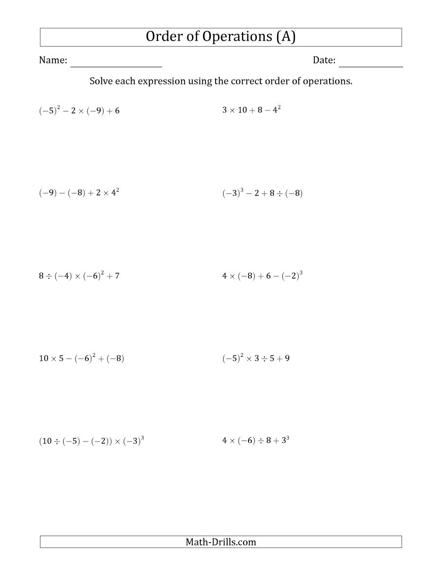 Order Of Operations With Negative And Positive Integers (four