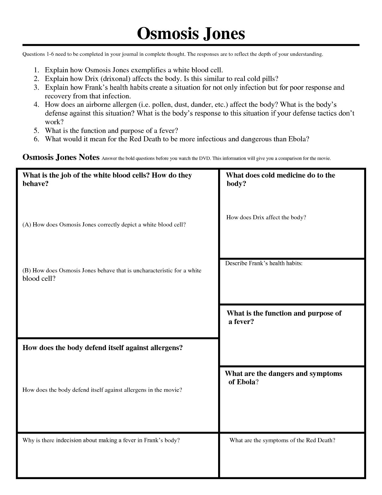 Osmosis Jones Analogies Worksheets Answers