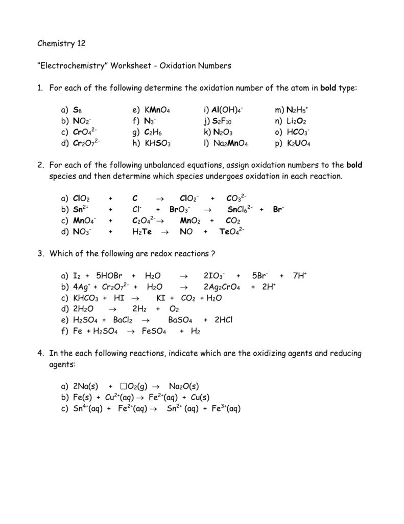 Oxidation Numbers Worksheet – Negima Worksheet & Spreadsheet