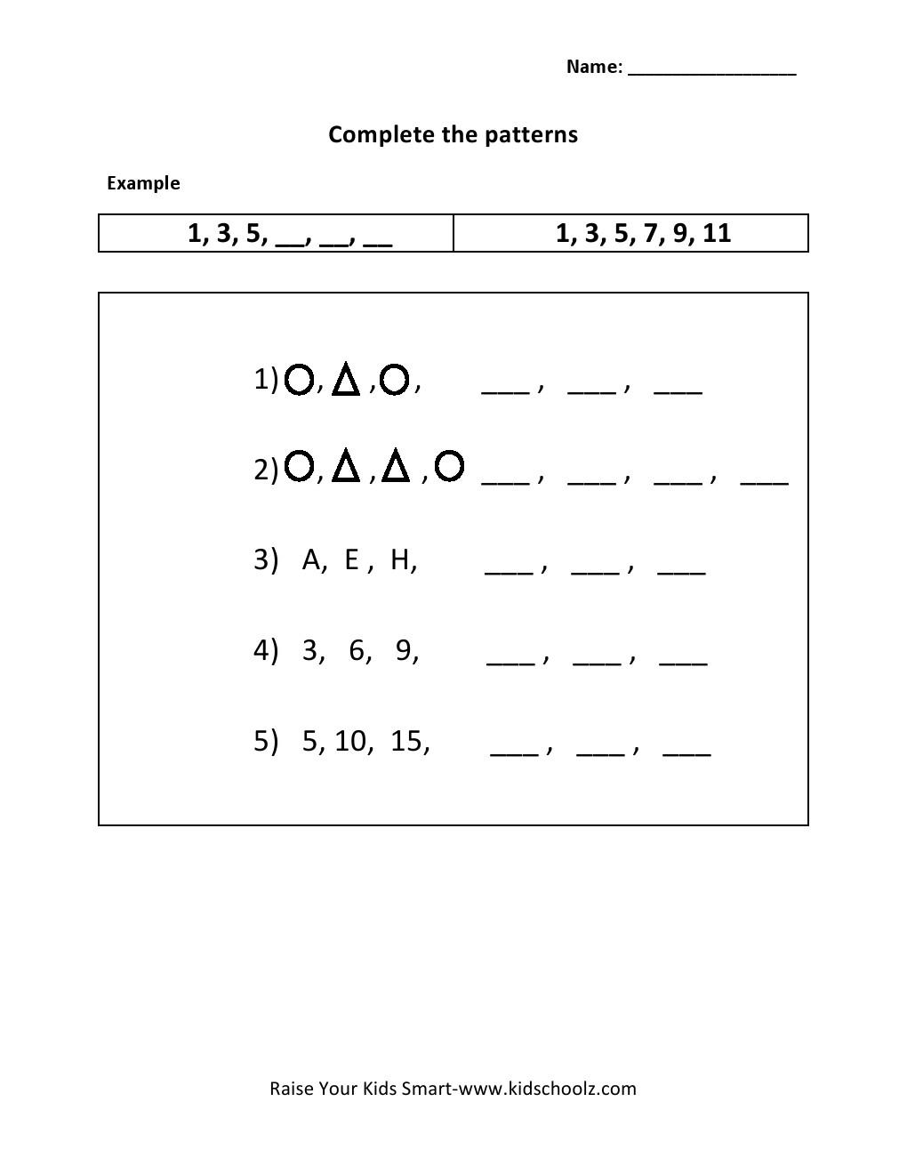 Pattern Worksheets Grade 1 The Best Worksheets Image Collection
