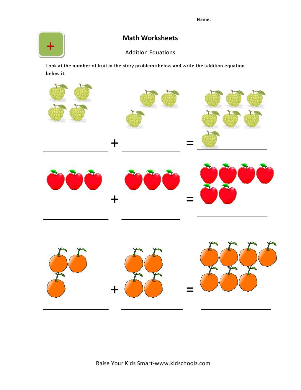 Picture Additionets Math For Preschoolers Ukg Kids Workshhetset