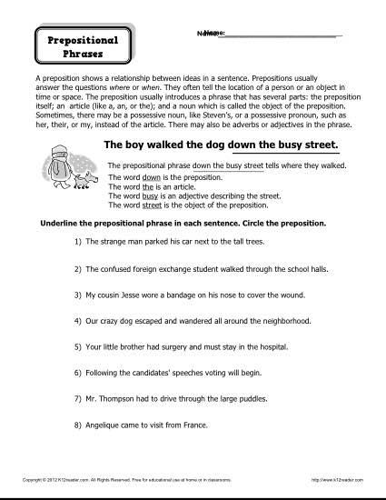 Prepositional Phrases Worksheets The Best Worksheets Image