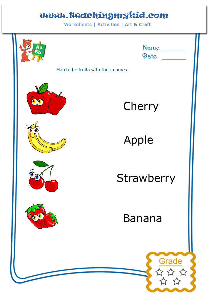 Preschool Worksheets Match The Fruits With Their Name 4 Alphabet