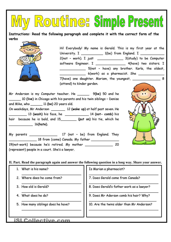 Present Simple Worksheets For Kids