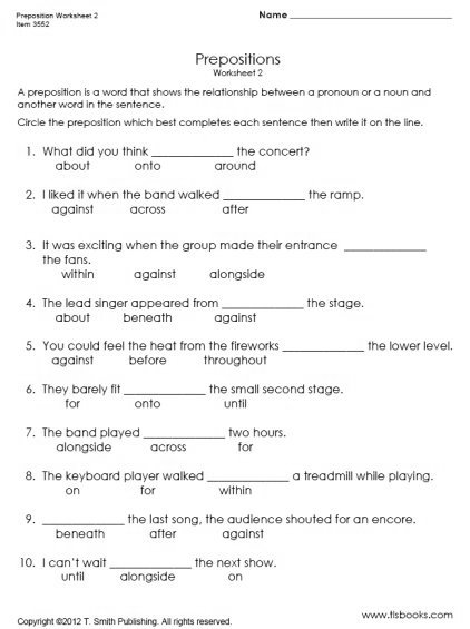 Printable Preposition Worksheets 6th Grade The Best Worksheets