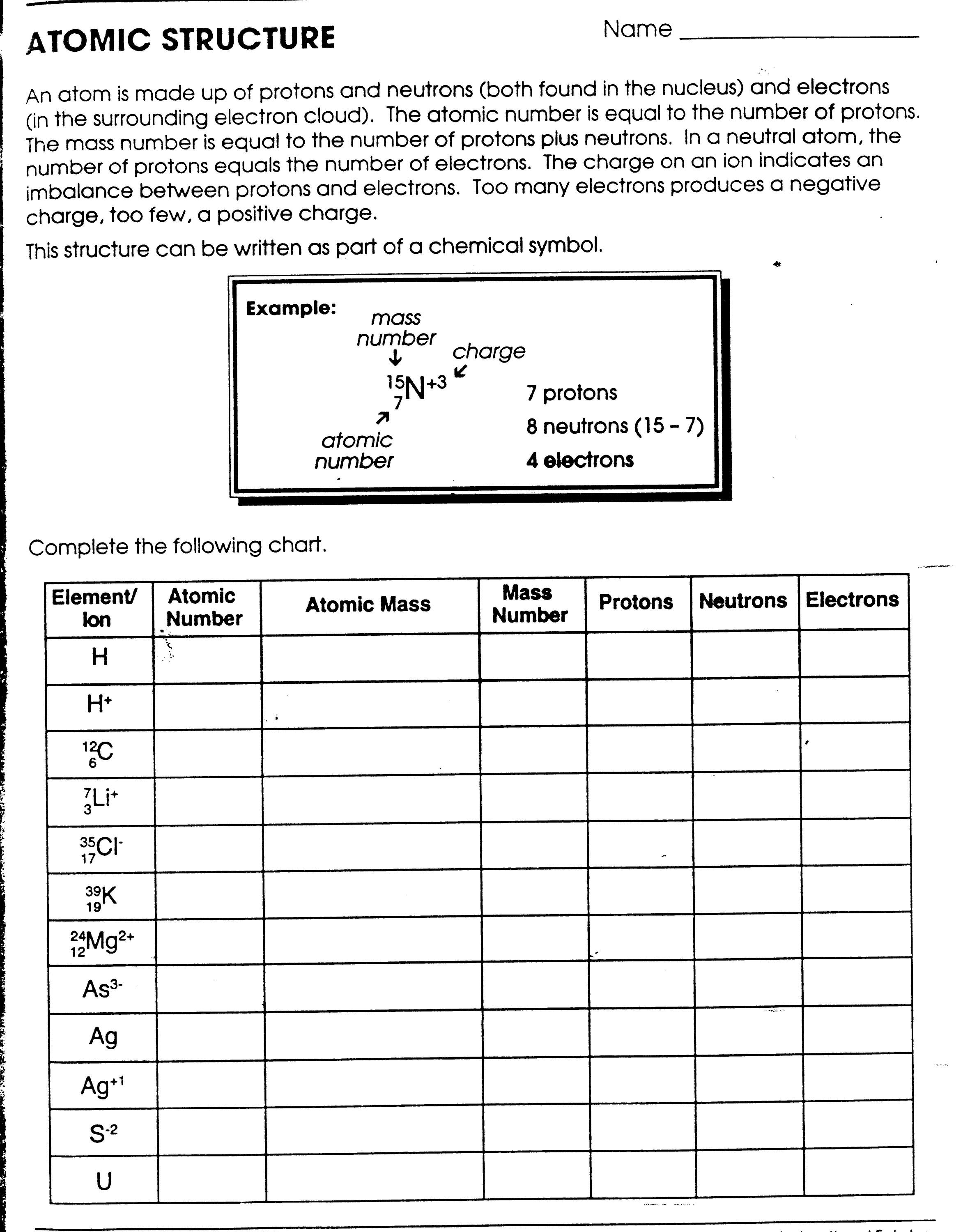 Printables Atomic Structure Worksheet Gozoneguide Thousands Of