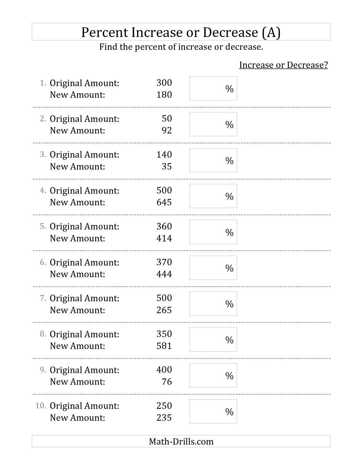 Quiz Worksheet Calculating Percentage Increase And Decrease